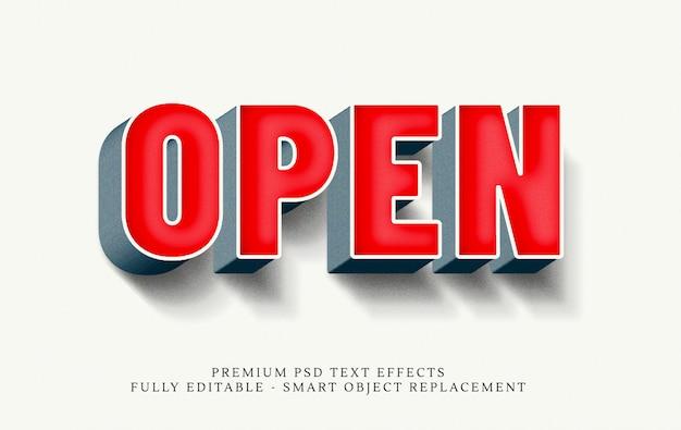 Open 3d tekststijl effect psd Premium Psd