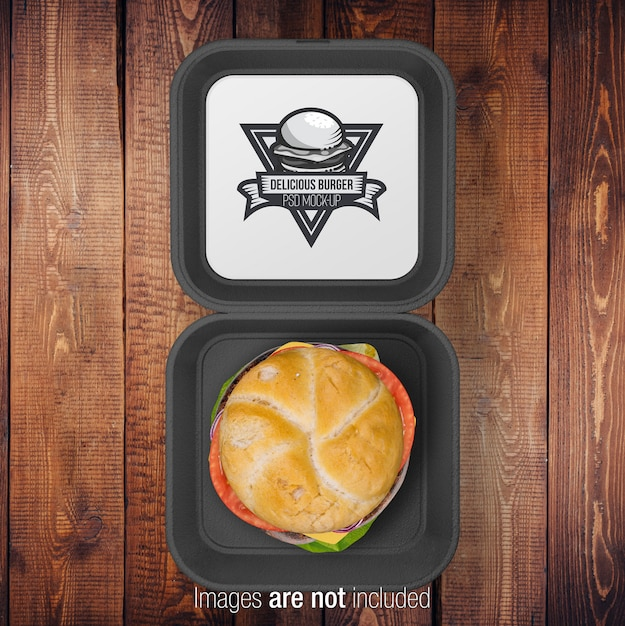 Open burger black box Premium Psd