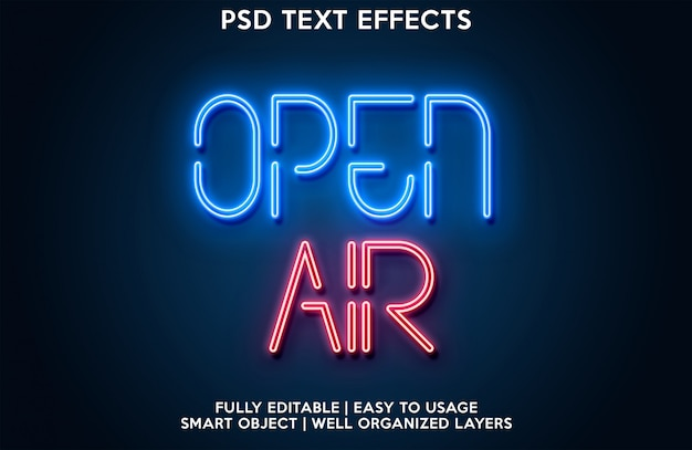 Open lucht teksteffect Premium Psd