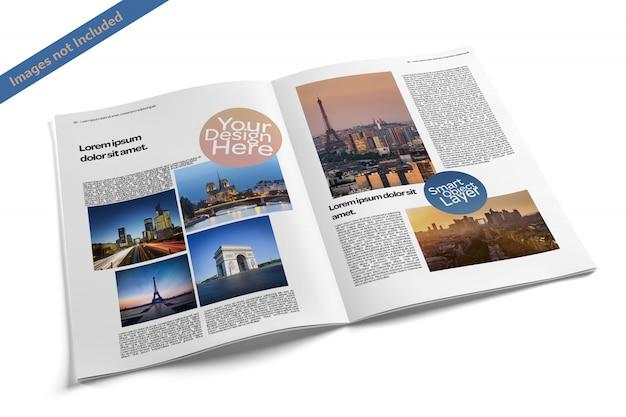 Open magazine mockup Psd Premium