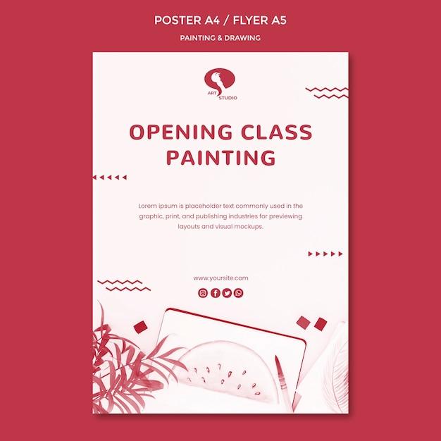 Openingslessen voor het tekenen en schilderen van postersjabloon Gratis Psd