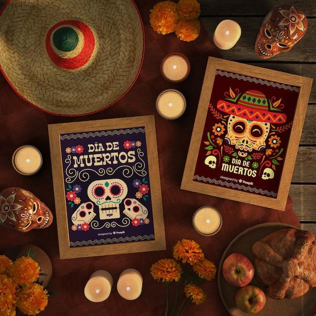 Opstelling van mexicaanse schedel mock-ups van dia de muertos Gratis Psd