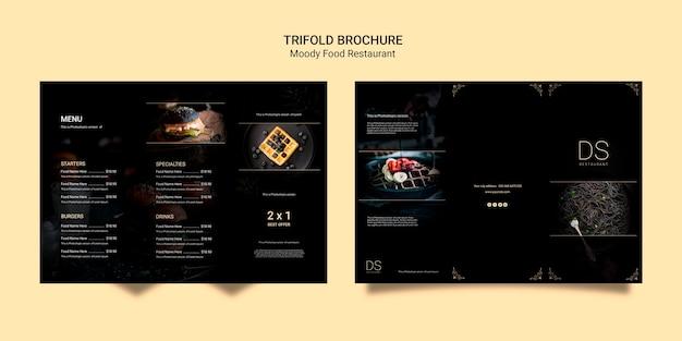 Opuscolo a tre ante per ristorante moody food Psd Gratuite