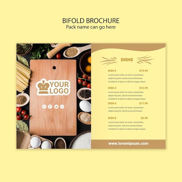 Opuscolo bifold menu del ristorante Psd Gratuite