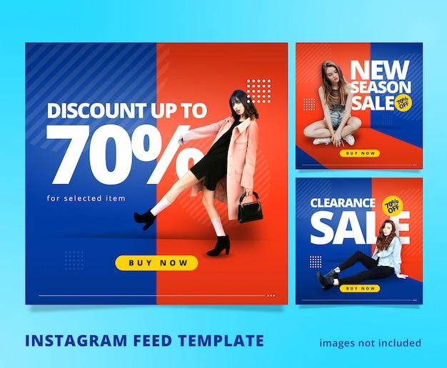 Oranje blauw instagram feed post sjabloon 3d look Premium Psd
