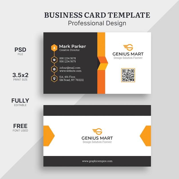 Oranje elegant visitekaartje Premium Psd