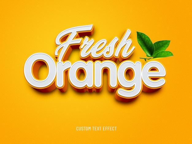 Oranje fris aangepast teksteffect Premium Psd
