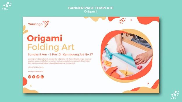 Origami banner sjabloon thema Gratis Psd