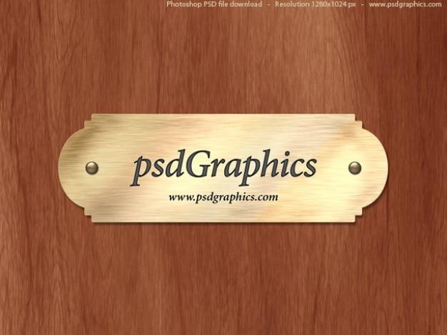 Oro plantilla de la placa de identificación PSD Psd Gratis