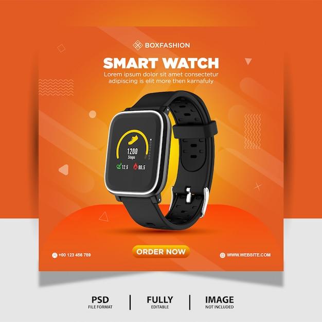Orologio di colore arancione prodotto di marca social media post banner Psd Premium