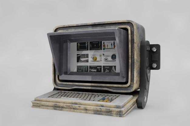 Oude computer mockup Gratis Psd