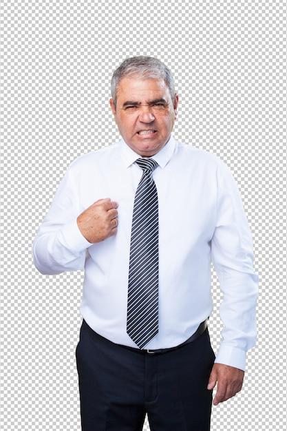 Oudere man wijst zichzelf Premium Psd