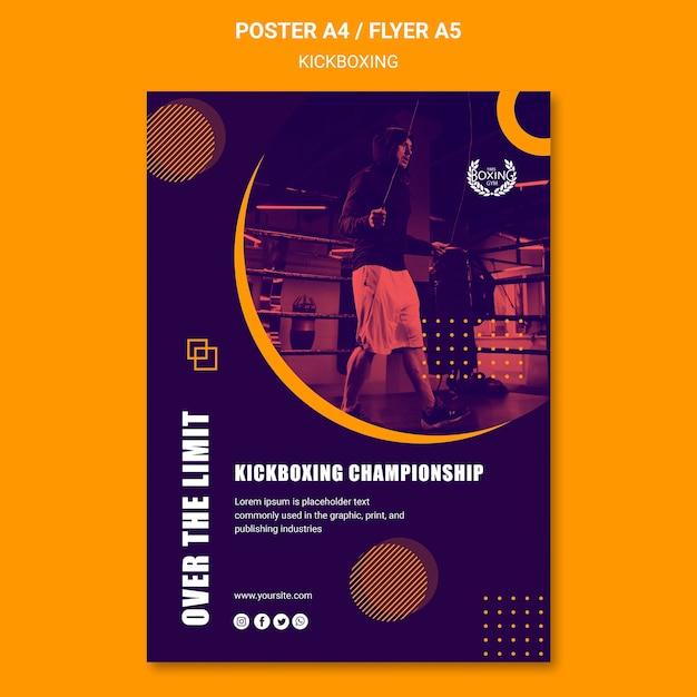 Over de limiet kickboksen poster sjabloon Gratis Psd