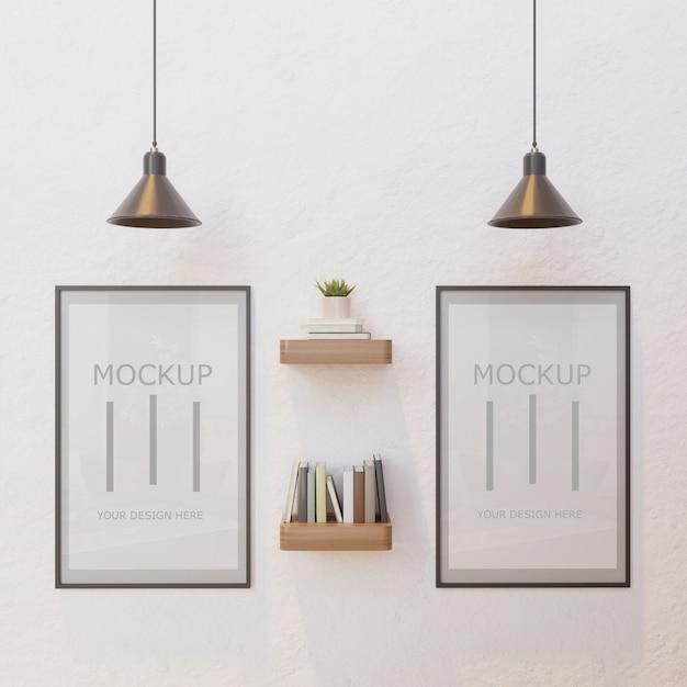 Paar frame mockup op witte muur onder lamp met boekenwand plank Premium Psd