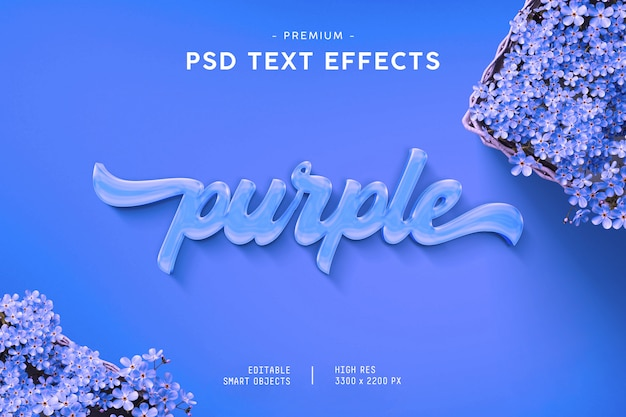 Paars teksteffect Premium Psd