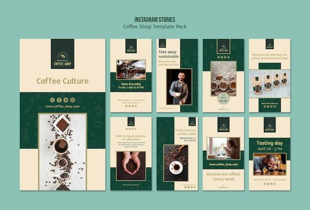 Pacchetto di storie di instagram banner caffetteria Psd Gratuite