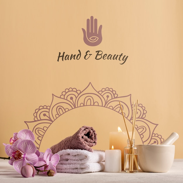 Pack elegante y natural en el spa con productos. PSD gratuito