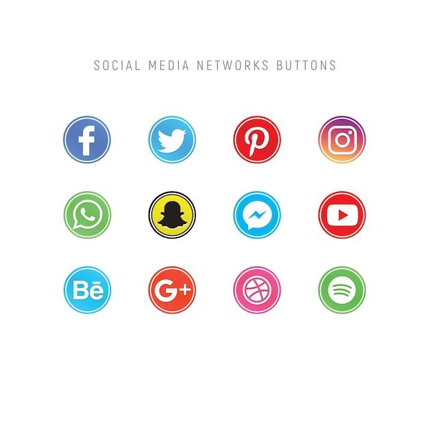 Pack van sociale media netwerkknoppen Premium Psd