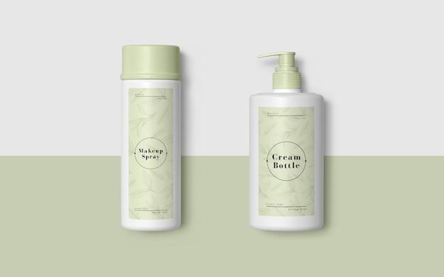 Packaging verde de productos cosméticos PSD gratuito