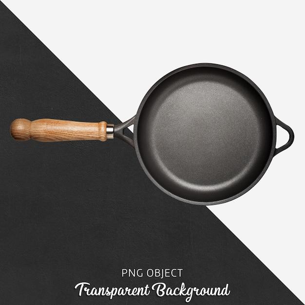 Padella nera con manico in legno su sfondo trasparente Psd Premium