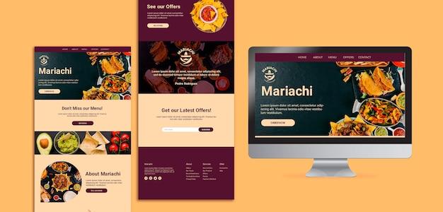 Pagina di destinazione del ristorante di piatti tradizionali messicani Psd Gratuite