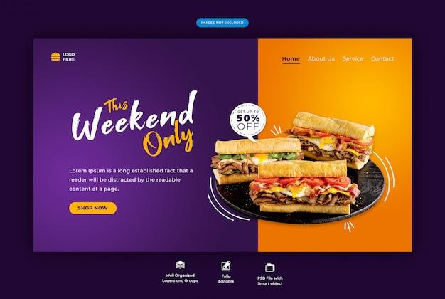 Pagina di destinazione orizzontale del cibo del ristorante Psd Premium