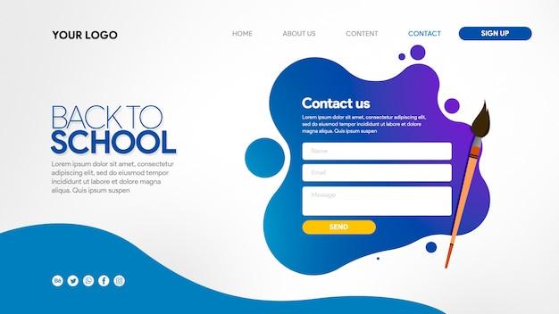 Pagina di destinazione ritorno a scuola colorfull con pennello Psd Premium