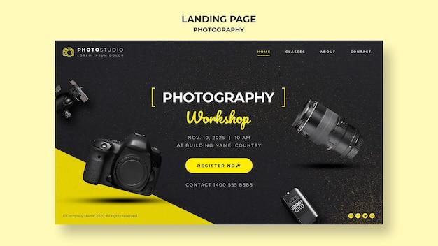 Página de inicio de la plantilla de taller de fotografía PSD gratuito