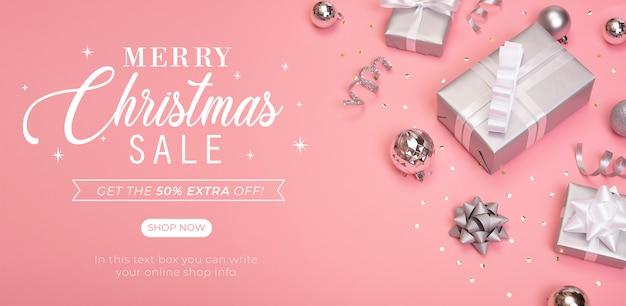 Página de portada de banner de venta de navidad sitio web. PSD Premium