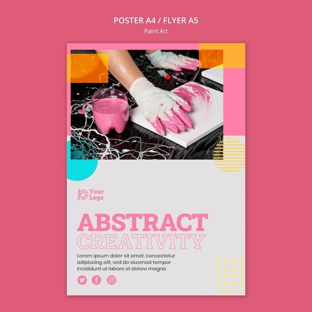 Paint art concept flyer stemplate Gratis Psd