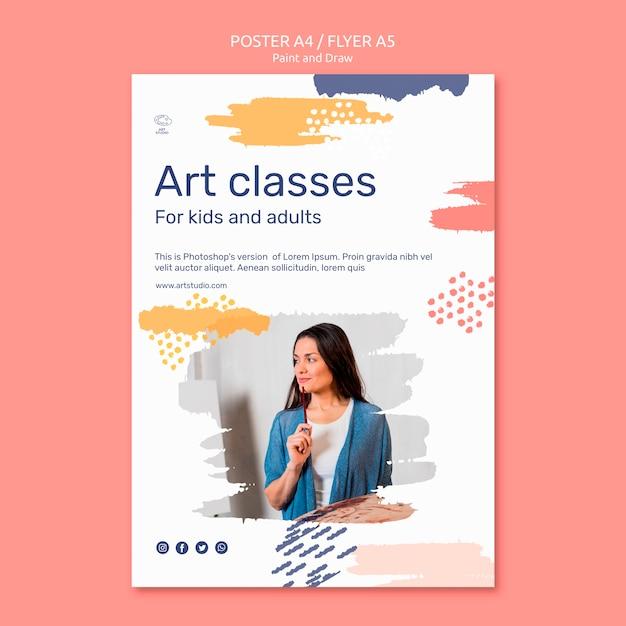 Paint & draw concept poster sjabloon Gratis Psd