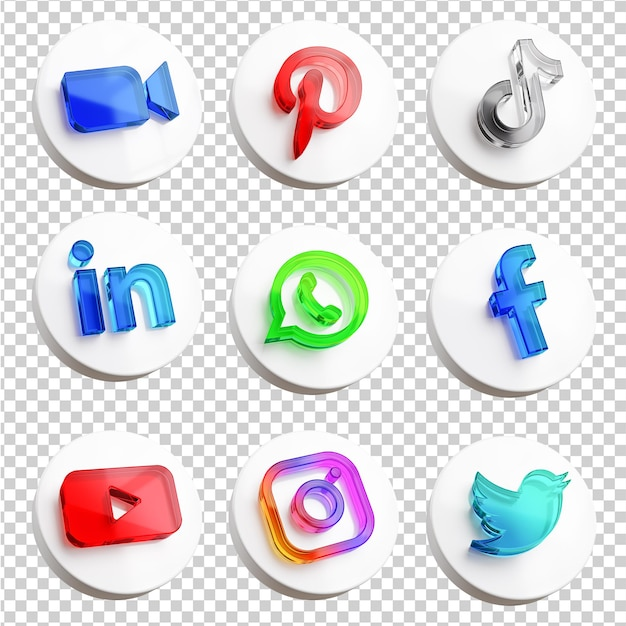 Pakket met het meest populaire app-pictogram voor sociale media in 3d-weergave Premium Psd