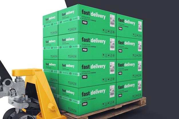 Palletgoederen met mockup voor handpallettrucks Premium Psd