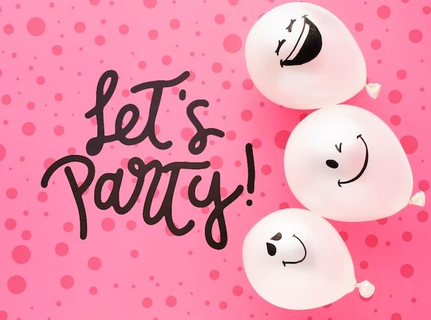 Palloncini di compleanno con coriandoli colorati Psd Gratuite