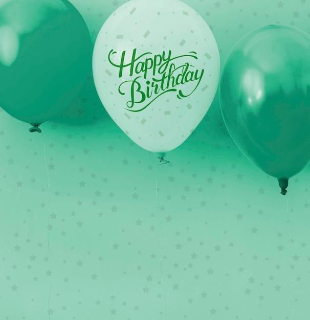 Palloncini e coriandoli monocromatici di buon compleanno Psd Gratuite