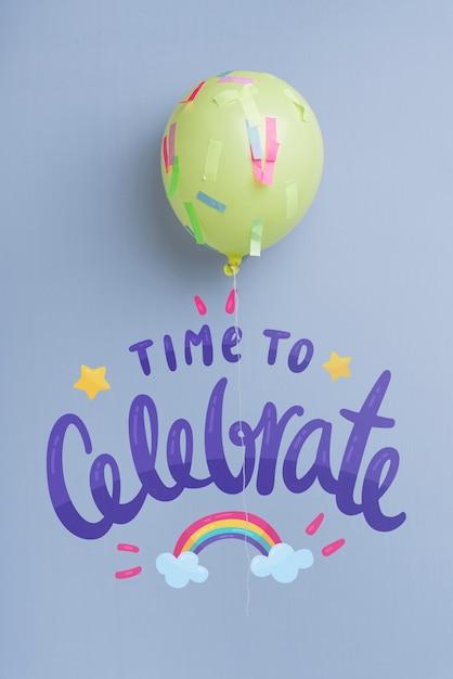 Palloncino di celebrazione con spazio di copia Psd Gratuite