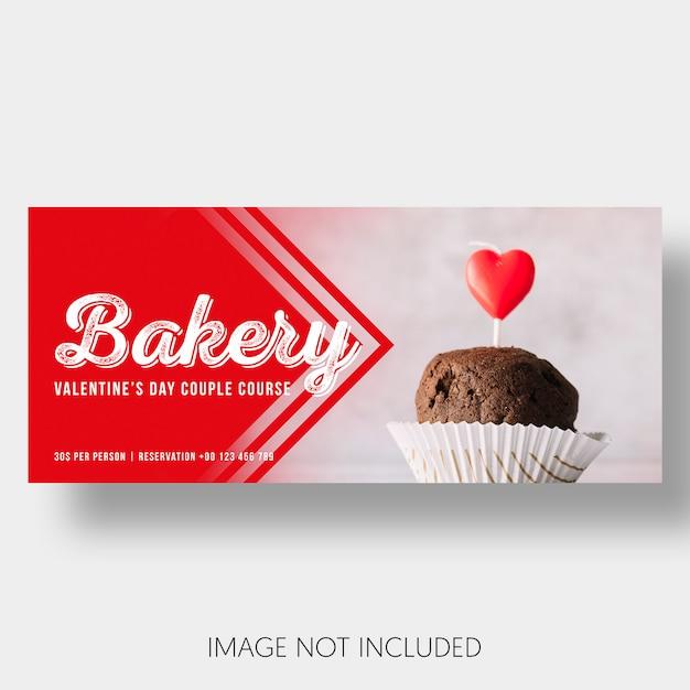 Pancarta plantilla panadería día de san valentín PSD gratuito