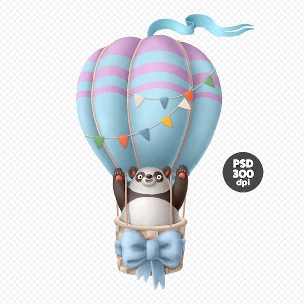 Panda karakter op de luchtballon illustratie geïsoleerd Premium Psd