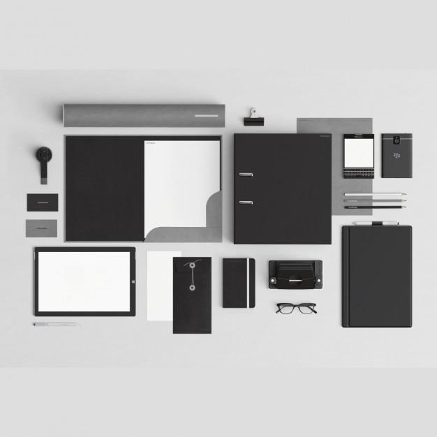 Papeler a corporativa con elementos de oficina descargar psd gratis - Papeleria de oficina ...