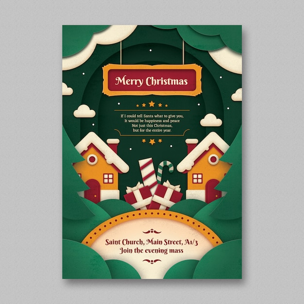 Paper art christmas flyer template Gratis Psd