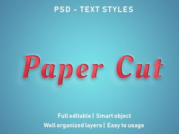 Papier knippen teksteffecten stijl bewerkbare psd Premium Psd