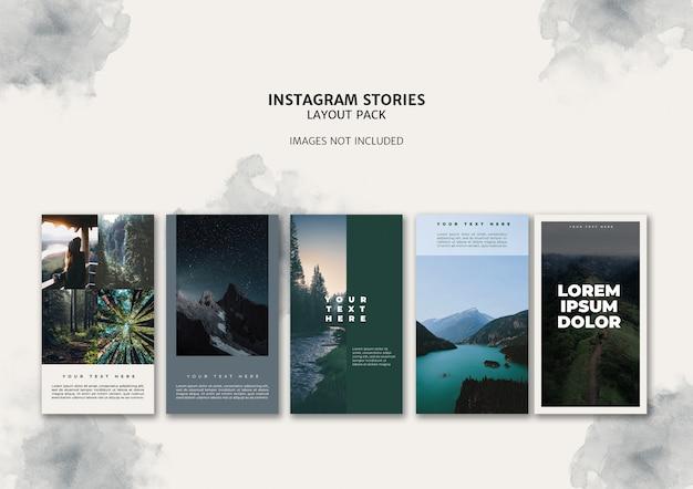 Paquete de plantillas de diseño de historias de instagram PSD gratuito