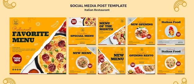 Paquete de publicaciones en redes sociales de restaurantes italianos PSD gratuito