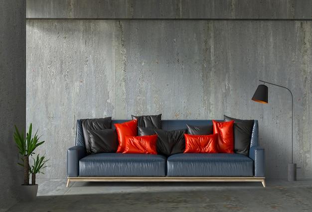Parete interna del salone con cemento, pianta, lampada Psd Premium