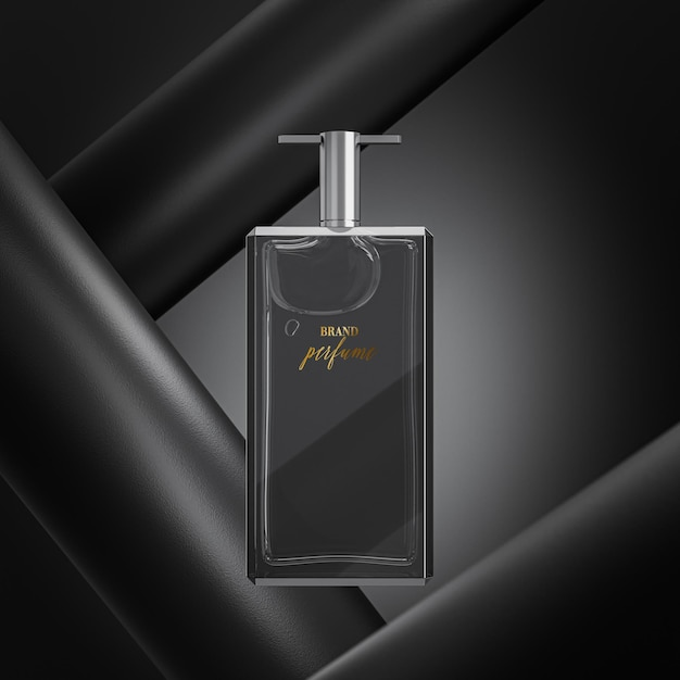 Parfumfles logo mockup op abstracte zwarte achtergrond Premium Psd