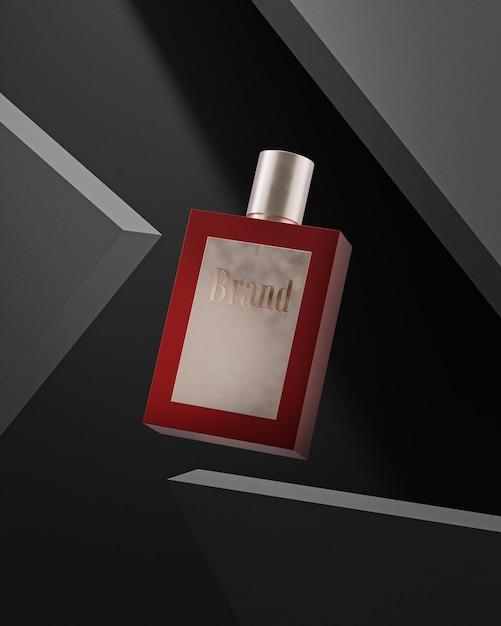 Parfumfles logo mockup op zwarte betonnen achtergrond Premium Psd