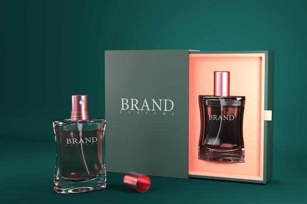 Parfumpakket set mockup 3d render model voor productontwerp. Premium Psd