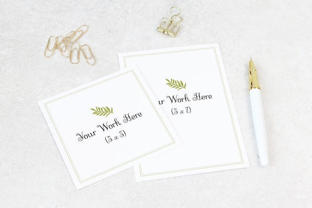 Partecipazione di nozze mockup con biglietto di ringraziamento Psd Premium