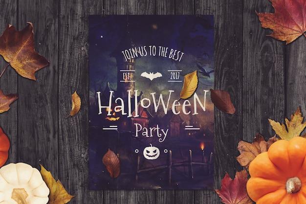 Party poster mockup met halloween design Premium Psd