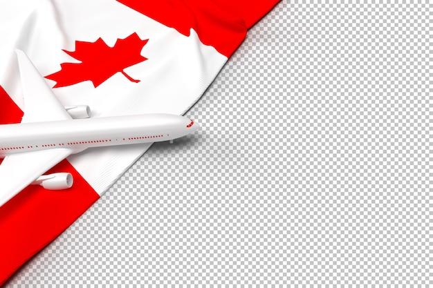 Passagiersvliegtuig en vlag van canada Premium Psd